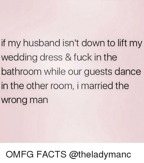wedding dress: if my husband isn't down to lift my  wedding dress & fuck in the  bathroom while our guests dance  in the other room, i married the  wrong man OMFG FACTS @theladymanc