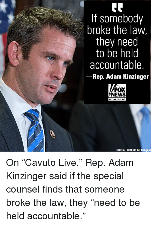 "Memes, News, and Fox News: If somebody  broke the law,  they need  to be helo  accountable.  Rep. Adam Kinzinger  FOX  NEWS  cha n ne I  (CQ Roll Call via AP Images) On ""Cavuto Live,"" Rep. Adam Kinzinger said if the special counsel finds that someone broke the law, they ""need to be held accountable."""