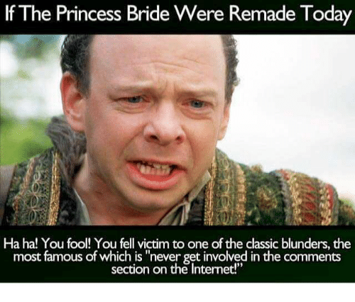 "The Princess Bride: If The Princess Bride Were Remade Today  Ha ha! You fool! You fell victim to one of the classic blunders, the  most famous of which is ""never getinvolved in the comments  section on the Internet!"""