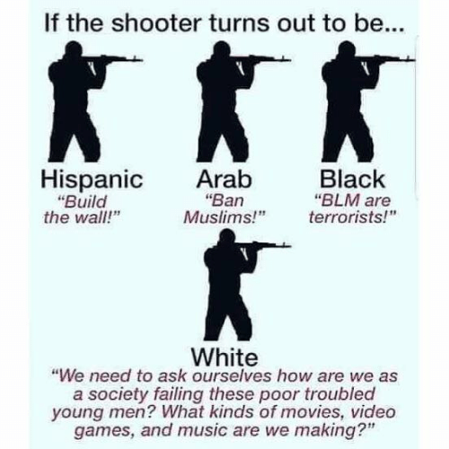 """Troubled: If the shooter turns out to be...  Hispanic Arab  Black  """"Ban  """"Build  the wall!""""  """"BLM are  Muslims!"""" errorists!  White  """"We need to ask ourselves how are we as  a society failing these poor troubled  young men? What kinds of movies, video  games, and music are we making?"""""""