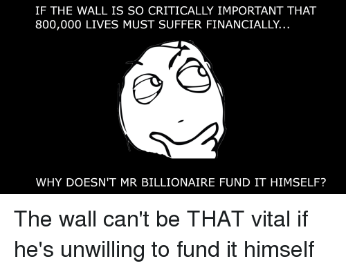 Reddit, The Wall, and Billionaire: IF THE WALL IS SO CRITICALLY IMPORTANT THAT  800,000 LIVES MUST SUFFER FINANCIALLY..  WHY DOESN'T MR BILLIONAIRE FUND IT HIMSELF? The wall can't be THAT vital if he's unwilling to fund it himself