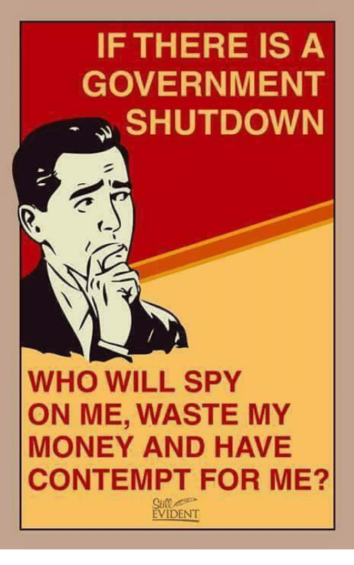 Memes, Money, and Contempt: IF THERE IS A  GOVERNMENT  SHUTDOWN  WHO WILL SPY  ON ME, WASTE MY  MONEY AND HAVE  CONTEMPT FOR ME?  EVIDENT