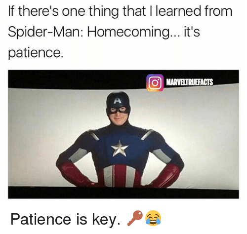 Memes, Spider, and SpiderMan: If there's one thing that I learned from  Spider-Man: Homecoming...it's  patience.  01 MAR ELTRUEFACTS Patience is key. 🔑😂