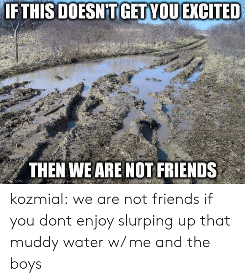 Muddy: IF THIS DOESNTGET VOUEXGITED  THEN WE ARE NOT FRIENDS  mgtip.com kozmial: we are not friends if you dont enjoy slurping up that muddy water w/ me and the boys