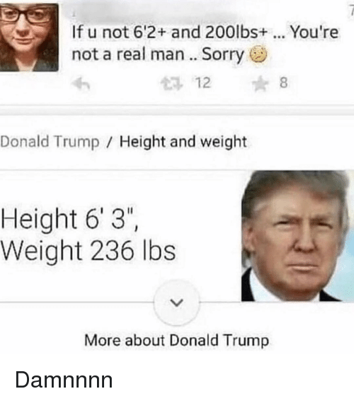 "Donald Trump, Memes, and Sorry: If u not 6'2+ and 200lbs. You're  not a real man.. Sorry  12 8  Donald Trump Height and weight  Height 6' 3""  Weight 236 lbs  More about Donald Trump Damnnnn"