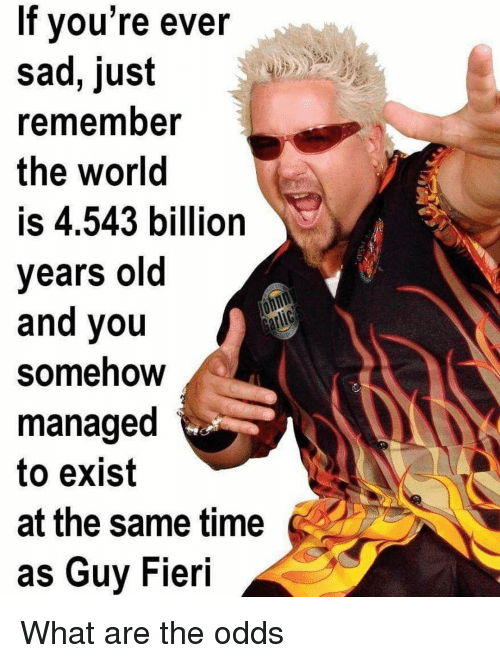 Guy Fieri: If vou're ever  sad, just  rememnber  the world  is 4.543 billion  years old  and you  Somehow  managed  to exist  at the same time  as Guy Fieri What are the odds