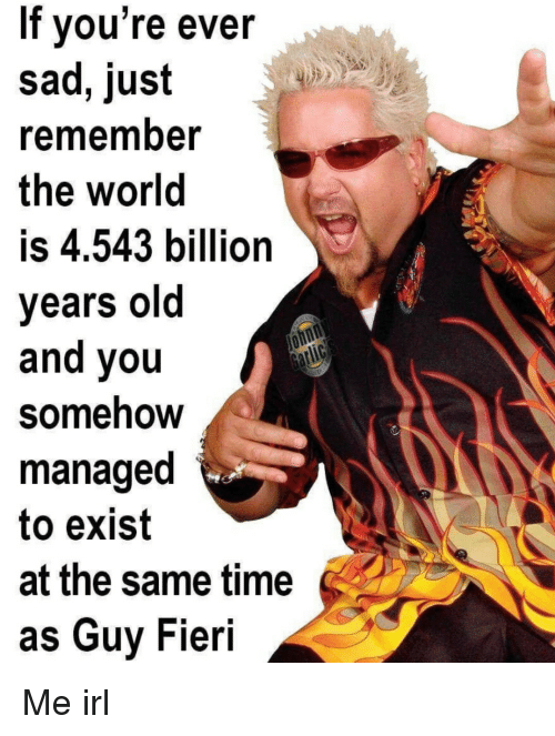 Guy Fieri: If vou're ever  sad, just  rememnber  the world  is 4.543 billion  years old  and you  Somehow  managed  to exist  at the same time  as Guy Fieri Me irl