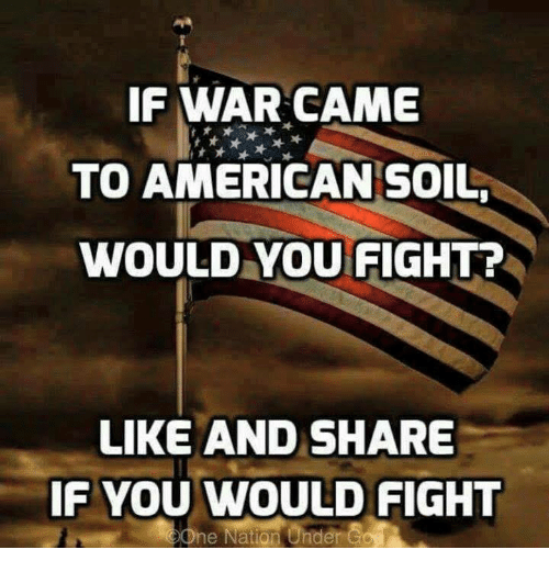 Memes, American, and Fight: IF WAR CAME  TO AMERICAN SOIL  WOULD YOU FIGHT?  LIKE AND SHARE  IF YOU WOULD FIGHT  ne Nation Under Co