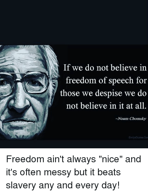 "Conne: If we do not believe in  freedom of speech for  those we despise we do  not believe in it at all.  -Noam Chomsky  Emilys Quotos Conn Freedom ain't always ""nice"" and it's often messy but it beats slavery any and every day!"