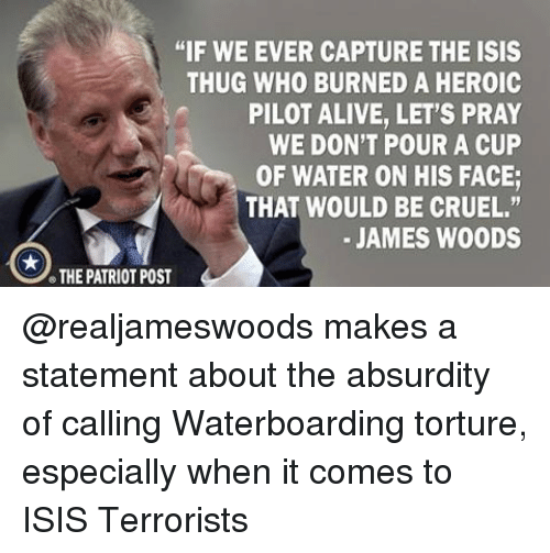 """the patriot: """"IF WE EVER CAPTURE THE ISIS  THUG WHO BURNED A HEROIC  PILOT ALIVE, LET'S PRAY  WE DON'T POUR A CUP  OF WATER ON HIS FACE;  THAT WOULD BE CRUEL.""""  JAMES WOODS  THE PATRIOT POST @realjameswoods makes a statement about the absurdity of calling Waterboarding torture, especially when it comes to ISIS Terrorists"""