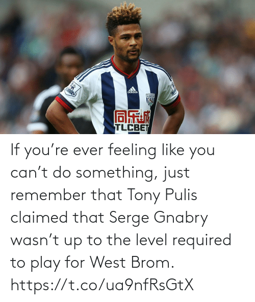 do something: If you're ever feeling like you can't do something, just remember that Tony Pulis claimed that Serge Gnabry wasn't up to the level required to play for West Brom. https://t.co/ua9nfRsGtX