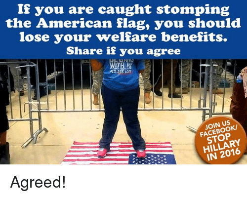 Facebook, Memes, and American: If you are caught stomping  the American flag, you should  lose your welfare benefits.  Share if you agree  410.233,108  JOIN US  FACEBOOK/  STOP  HILLARY  IN 2016 Agreed!