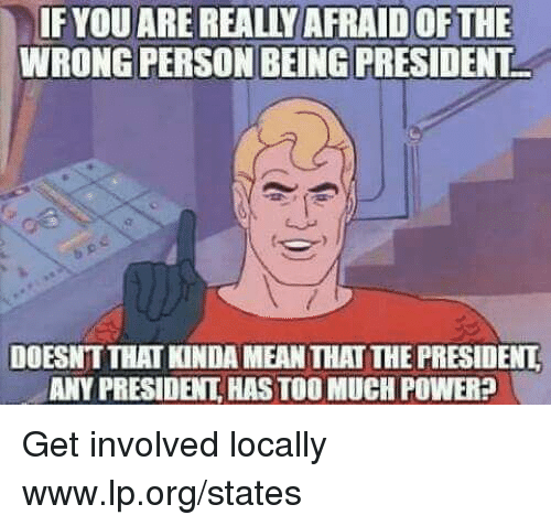 Memes, Too Much, and Mean: IF YOU ARE REALLY AFRAID OF THE  WRONG PERSON BEING PRESIDENT  DOESNT THAI KINDA MEAN THAT THE PRESIDENL  ANY PRESIDENT HAS TOO MUCH POWER? Get involved locally www.lp.org/states
