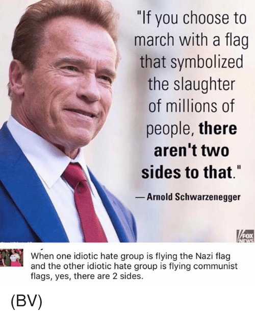 "and the others: ""If you choose to  march with a flag  that symbolized  the slaughter  of millions of  people, there  aren't two  sides to that""  Arnold Schwarzenegger  FOX  When one idiotic hate group is flying the Nazi flag  and the other idiotic hate group is flying communist  flags, yes, there are 2 sides. (BV)"