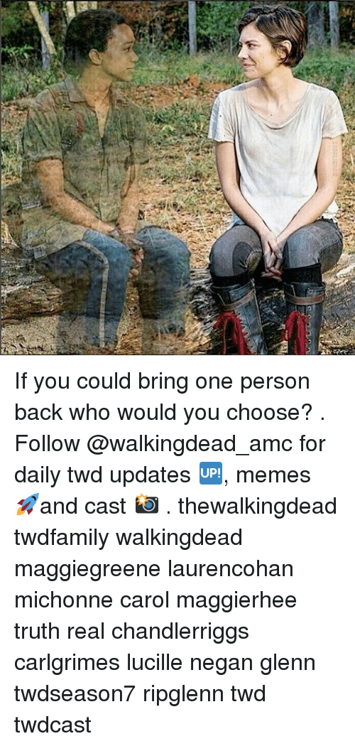 Carole: If you could bring one person back who would you choose? . Follow @walkingdead_amc for daily twd updates 🆙, memes 🚀and cast 📸 . thewalkingdead twdfamily walkingdead maggiegreene laurencohan michonne carol maggierhee truth real chandlerriggs carlgrimes lucille negan glenn twdseason7 ripglenn twd twdcast