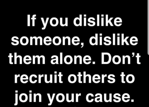 Being Alone, Dank, and 🤖: If you dislike  someone, dislike  them alone. Don't  recruit others to  join your cause.