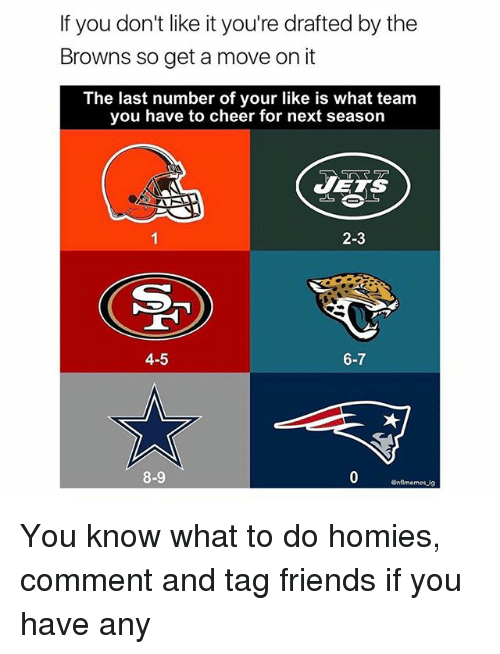 Cheerfulness: If you don't like it you're drafted by the  Browns so get a move on it  The last number of your like is what team  you have to cheer for next season  JETS  2-3  4-5  6-7  8-9  Gnflmemes ig You know what to do homies, comment and tag friends if you have any