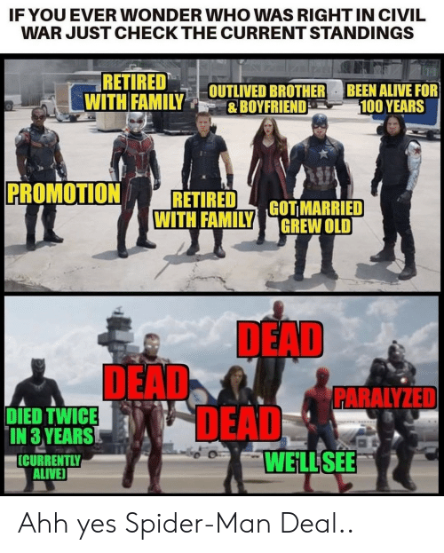 Alive, Family, and Spider: IF YOU EVER WONDER WHO WAS RIGHTIN CIVIL  WAR JUST CHECK THE CURRENT STANDINGS  RETIRED  WITH FAMILY  BEEN ALIVE FOR  100 YEARS  OUTLIVED BROTHER  &BOYFRIEND  PROMOTION  RETIRED  WITH FAMILY  GOT MARRIED  GREW OLD  DEAD  DEAD  DEAD  WELL SEE  PARALYZED  DIED TWICE  IN 3 YEARS  ICURRENTLY  ALIVE Ahh yes Spider-Man Deal..