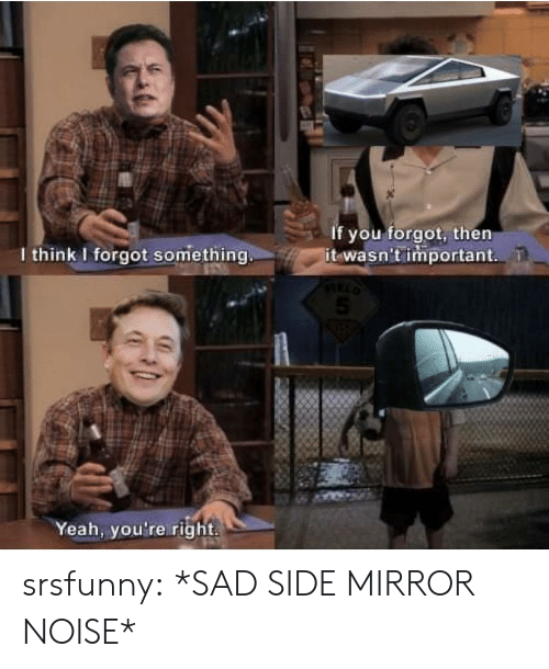 I Forgot: If you forgot, then  it wasn't important  I think I forgot something.  Yeah, you're right srsfunny:  *SAD SIDE MIRROR NOISE*