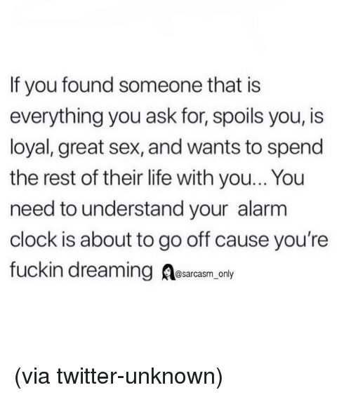 Clock, Funny, and Life: If you found someone that is  everything you ask for, spoils you, is  loyal, great sex, and wants to spend  the rest of their life with you... You  need to understand your alarm  clock is about to go off cause you're  fuckin dreaming Aesarcasm, onl (via twitter-unknown)