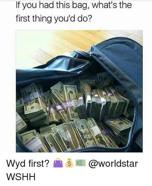 Memes, Worldstar, and Wshh: If you had this bag, what's the  first thing you'd do? Wyd first? 👜💰💵 @worldstar WSHH