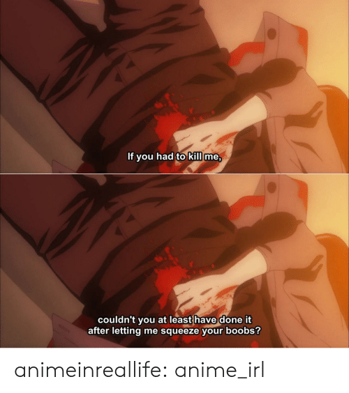 Anime, Tumblr, and Blog: If you had to kill me,  couldn't you at least have done it  after letting me squeeze your boobs? animeinreallife:  anime_irl