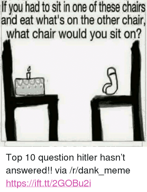 """Dank, Meme, and Hitler: If you had to sit in one of these chairs  and eat what's on the other chair  what chair would you sit on? <p>Top 10 question hitler hasn't answered!! via /r/dank_meme <a href=""""https://ift.tt/2GOBu2i"""">https://ift.tt/2GOBu2i</a></p>"""