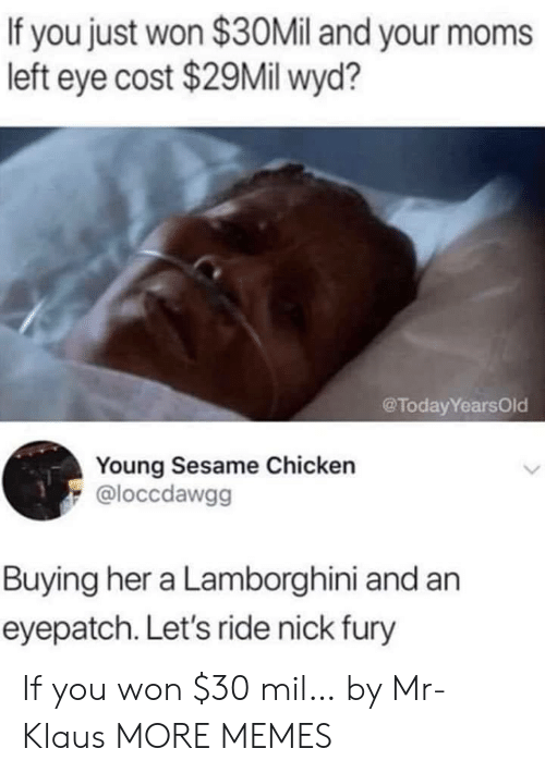 Lamborghini: If you just won $30Mil and your moms  left eye cost $29Mil wyd?  @TodayYearsOld  Young Sesame Chicken  @loccdawgg  Buying her a Lamborghini and an  eyepatch. Let's ride nick fury If you won $30 mil… by Mr-Klaus MORE MEMES