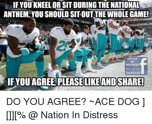 sitting out: IF YOU KNEELOR DURING THE NATIONAL  ANTHEM YOUSHOULD SIT OUT THE WHOLEGAME!  NATION  DISTRESS  like us on  facebook  IF YOUAGREE PLEASE LIKE AND SHARE! DO YOU AGREE? ~ACE DOG ][]][% @ Nation In Distress