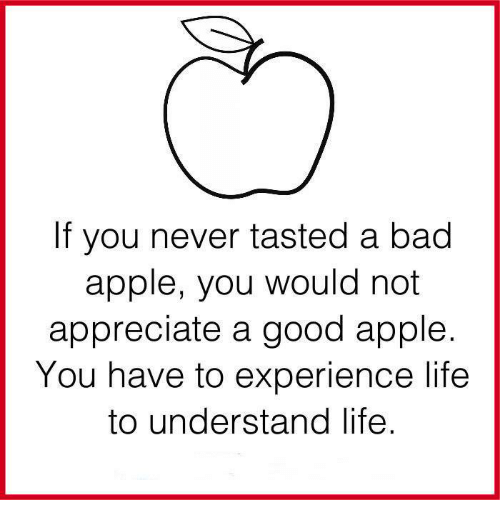 Taste A: If you never tasted a bad  apple, you would not  appreciate a good apple  You have to experience life  to understand life