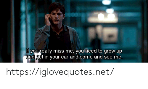 Net, Car, and Grow: If you really miss me, you need to grow up  and get in your car and come and see me. https://iglovequotes.net/
