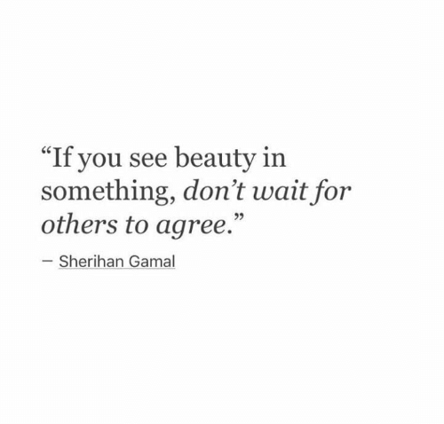 """You, For, and Beauty: """"If you see beauty in  something, don't wait for  others to agree.""""  Sherihan Gamal"""
