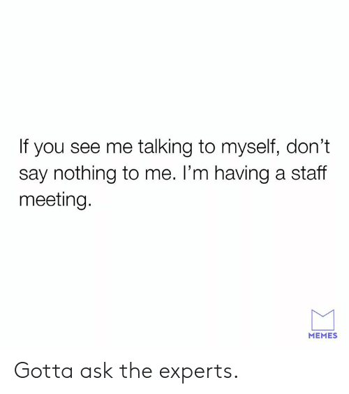 Meeting Memes: If you see me talking to myself, don't  say nothing to me. l'm having a staff  meeting.  MEMES Gotta ask the experts.