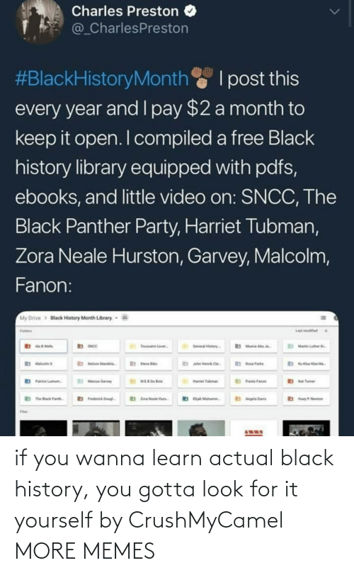 History: if you wanna learn actual black history, you gotta look for it yourself by CrushMyCamel MORE MEMES