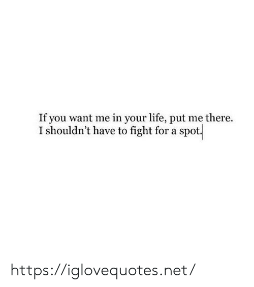 Life, Fight, and Net: If you want me in your life, put me there.  I shouldn't have to fight for a spot https://iglovequotes.net/