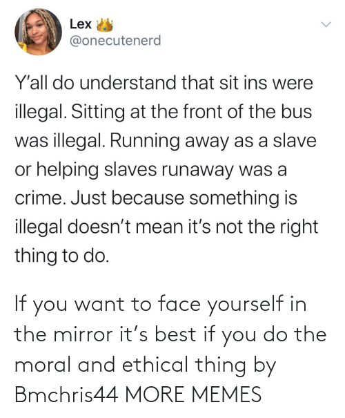 Yourself: If you want to face yourself in the mirror it's best if you do the moral and ethical thing by Bmchris44 MORE MEMES
