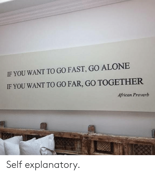 if you want to: IF YOU WANT TO GO FAST, GO ALONE  IF YOU WANT TO GO FAR, GO TOGETHER  African Proverb Self explanatory.