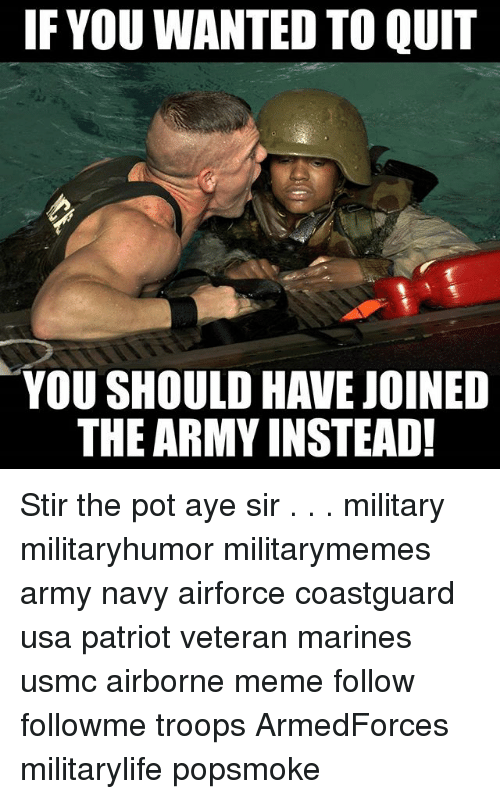 Quit You: IF YOU WANTED TO QUIT  YOU SHOULD HAVEJOINED  THE ARMY INSTEAD! Stir the pot aye sir . . . military militaryhumor militarymemes army navy airforce coastguard usa patriot veteran marines usmc airborne meme follow followme troops ArmedForces militarylife popsmoke