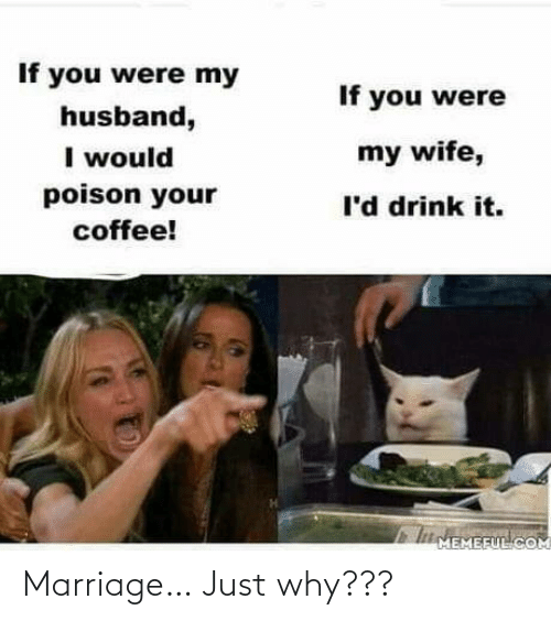 Husband: If you were my  If you were  husband,  I would  poison your  my wife,  l'd drink it.  coffee!  IMEMEFUL COM Marriage… Just why???