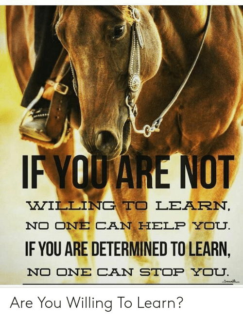 Help, Can, and One: IF YOUARE NOT  WILLING TO LEARN,  NO ONE CAN HELP YOU.  IF YOU ARE DETERMINED TO LEARN,  NO ONE CAN STOP YOU.  Swdl Are You Willing To Learn?