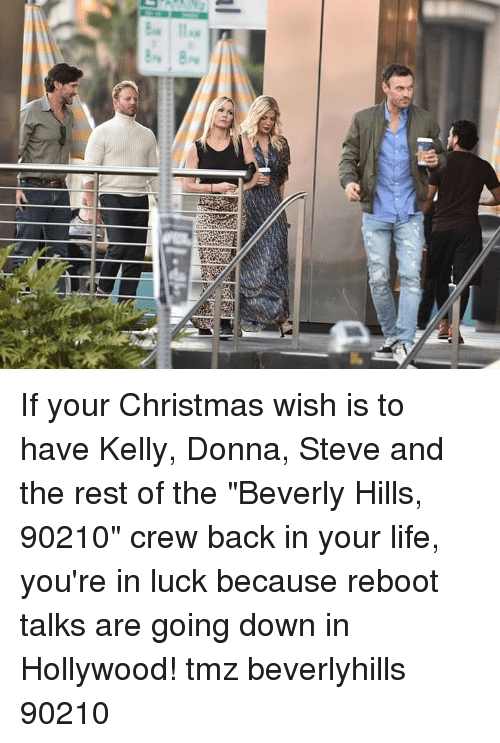 """Christmas, Life, and Memes: If your Christmas wish is to have Kelly, Donna, Steve and the rest of the """"Beverly Hills, 90210"""" crew back in your life, you're in luck because reboot talks are going down in Hollywood! tmz beverlyhills 90210"""