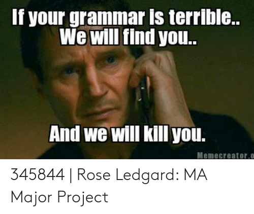 Grammar Police Meme: If your grammar is terrible...  We will find yo..  And we will kill you.  Memecreator.c 345844 | Rose Ledgard: MA Major Project