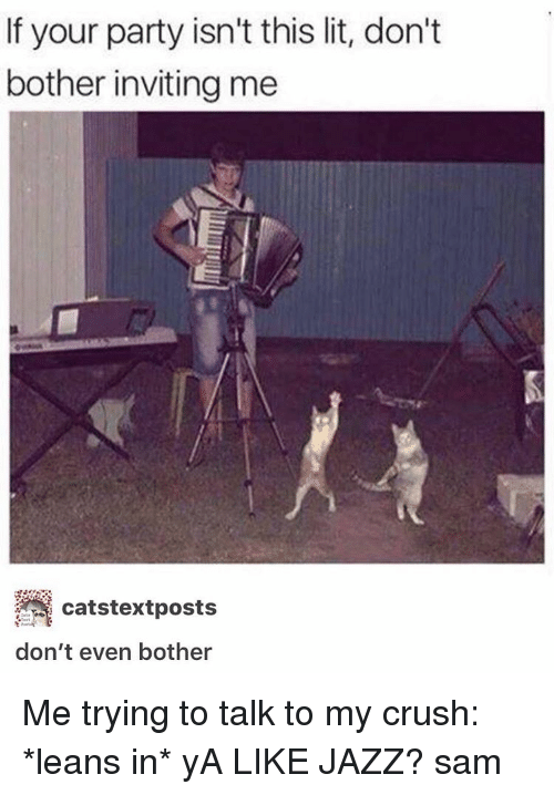 Ya Like Jazz: If your party isn't this lit, don't  bother inviting me  catstextposts  don't even bother Me trying to talk to my crush: *leans in* yA LIKE JAZZ? ≪sam≫