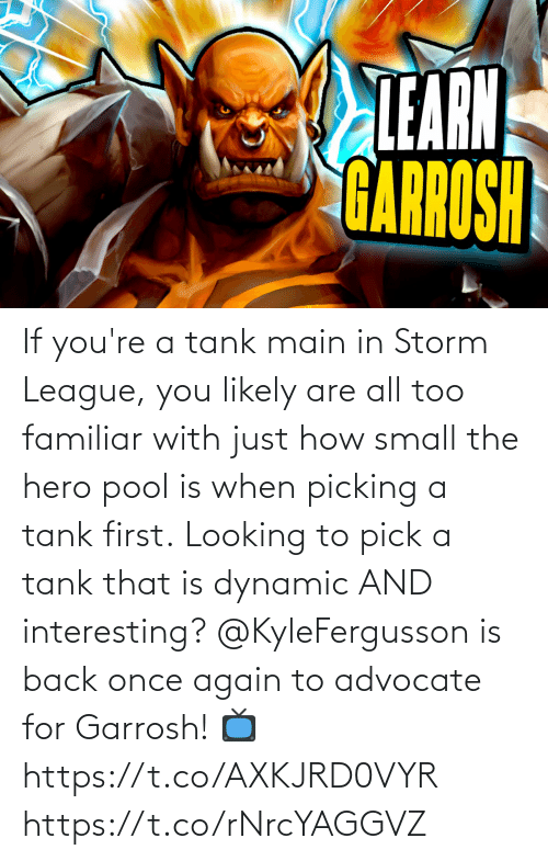 tank: If you're a tank main in Storm League, you likely are all too familiar with just how small the hero pool is when picking a tank first.  Looking to pick a tank that is dynamic AND interesting? @KyleFergusson is back once again to advocate for Garrosh!  📺https://t.co/AXKJRD0VYR https://t.co/rNrcYAGGVZ