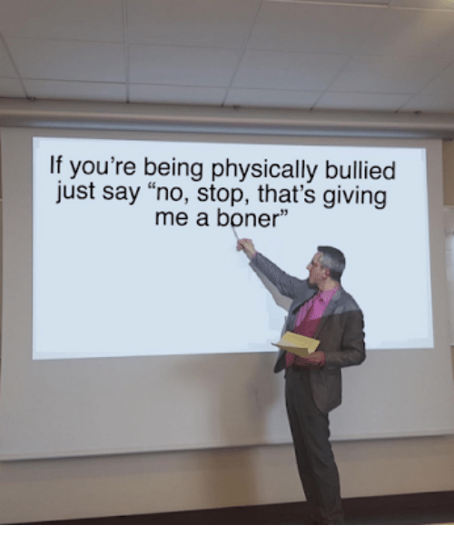 """Boner, Stop, and Youre: If you're being physically bullied  just say """"no, stop, that's giving  me a boner"""""""