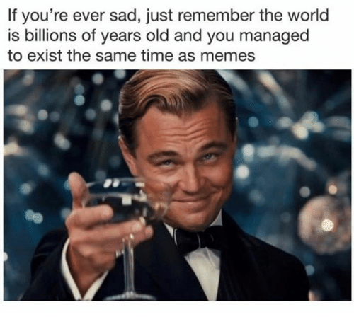 Existance: If you're ever sad, just remember the world  is billions of years old and you managed  to exist the same time as memes