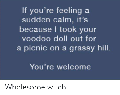 voodoo: If you're feeling a  sudden calm, it's  because I took your  voodoo doll out for  a picnic on a grassy hill.  You're welcome Wholesome witch