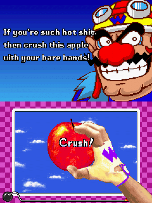 Apple, Crush, and Shit: If you're such hot shit  then crush this apple  uith your !  bare hands   rush