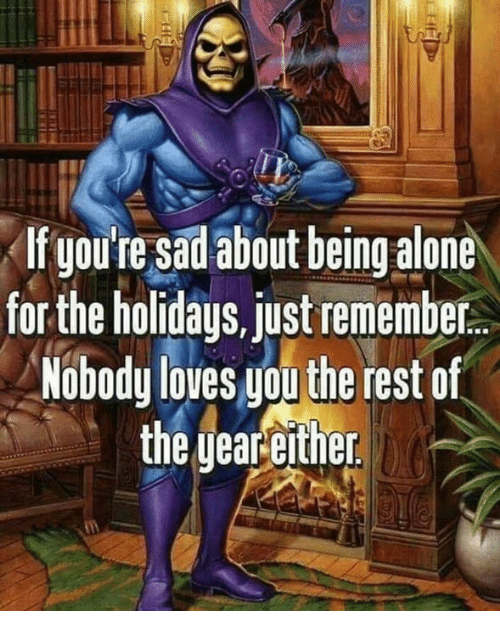 Being Alone, Funny, and Rest: If youte sadabout being alone  for the holidays, just remember  Nobodu loves uou the rest of  tne yeareitner