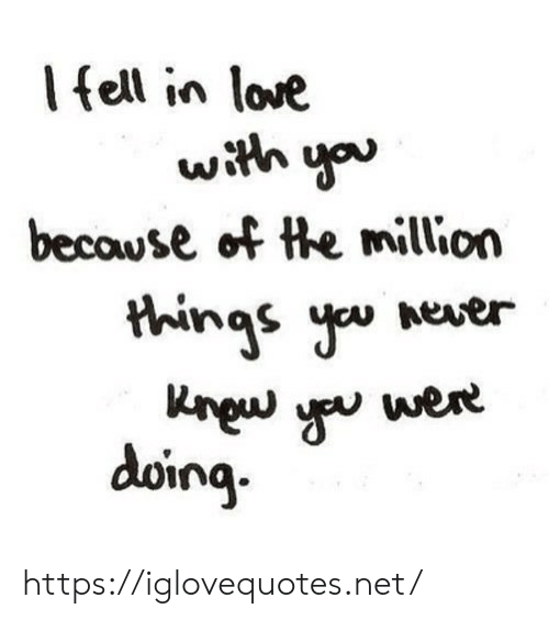 Love, Net, and You: Ifell in love  with you  becowse of the million  things you  Aever  Kngw  were  doing https://iglovequotes.net/